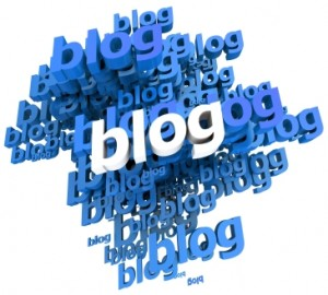 Blue and white 3D illustration with the word blog repeated  in different shades